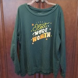 Elect More Women Sweatshirt Sz 1X Green Great Deal